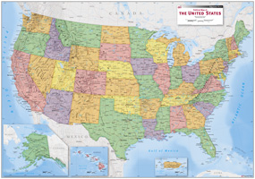 USA Political Wall Map by Equator Maps from Maps.com.