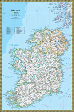 National Geographic Ireland Wall Map