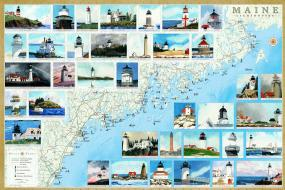 Maine Lighthouses Map - Laminated Poster 