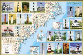 Southeast Lighthouses Map - Laminated Poster