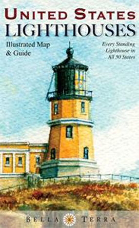 United States Lighthouses Illustrated Map & Guide Folded Map