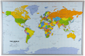 Political World Map on Cork Pinboard