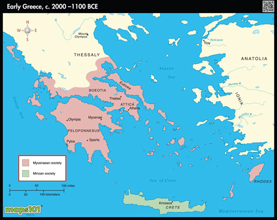 Greece On Map Of World.Early Ancient Greece Map By Maps Com From Maps Com World S