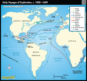 Early Voyages of Exploration Map, 1000-1609 CE