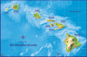 Hawaii Islands Wall Map