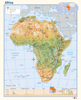 Africa Physical Wall Map