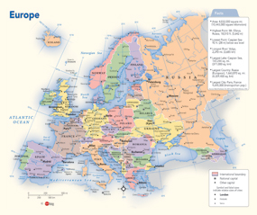 Latitude Map Of Europe.Europe Political Wall Map By Geonova Publishing Inc From Maps Com
