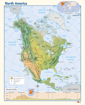 North America Map Physical.North America Physical Wall Map By Geonova Publishing Inc From