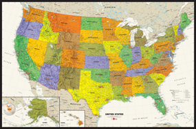 Contemporary USA Wall Map