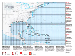 USA Atlantic Hurricane Tracking Wall Map