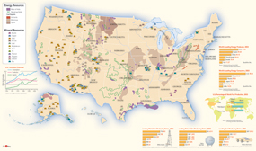 USA Energy Resources Wall Map