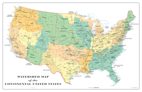 USA Watershed Wall Map