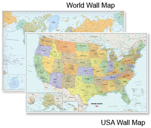 Classic USA and World Wall Map Set