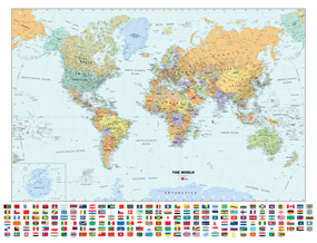 Classic World Wall Map with Flags