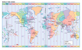 World Time Zones Wall Map