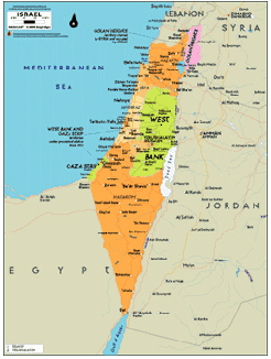 Israel Wall Map from Mapscom