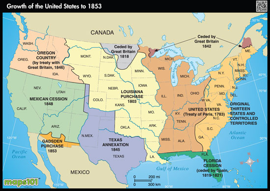 Expansion of US to 1853 by Mapscom from Mapscom Worlds Largest