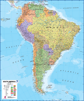 South America Wall Map by Maps International from Maps.com. South America Wall Maps