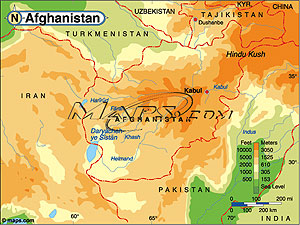Afghanistan Elevation Digital Map
