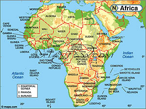 Africa Continent Elevation Digital Map