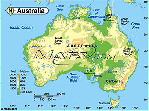Australia Elevation Digital Map From Maps Com