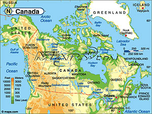 Canada Elevation Digital Map