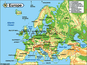 Europe Continent Elevation Digital Map