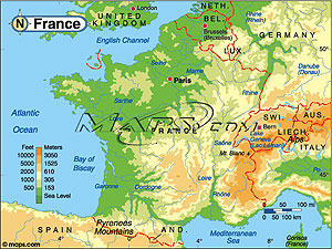 France Elevation Digital Map