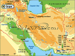 Iran Elevation Digital Map from Mapscom