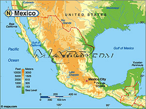 Mexico Elevation Digital Map