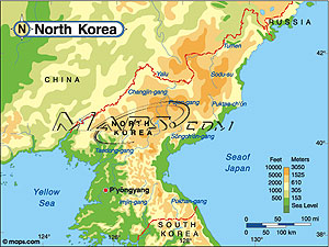 North Korea Elevation Digital Map from Mapscom
