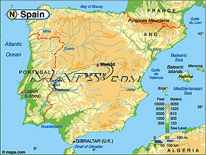 Spain Elevation Digital Map from Maps.com.