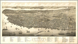 Halifax Antique Wall Map