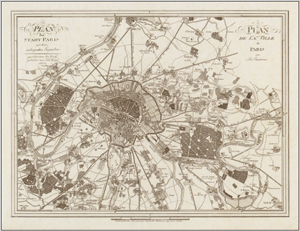 Antique Map of Paris