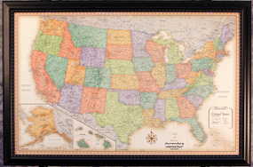 Illuminated Classic USA Wall Map with Frame