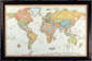 Illuminated Classic World Wall Map with Frame