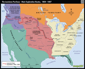 Louisiana Purchase, Main Exploration Routes, 1804-1807