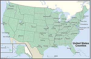 USA with County Outlines Wall Map