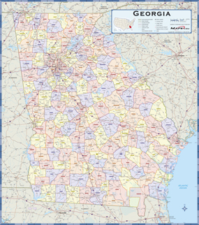 Georgia Counties Wall Map