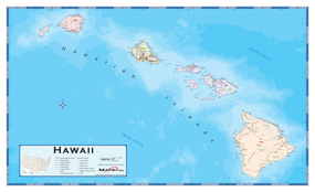 Hawaii Counties Wall Map