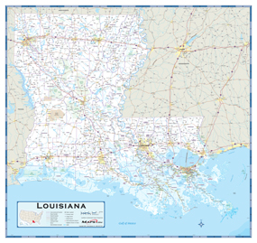 Louisiana Highway Wall Map