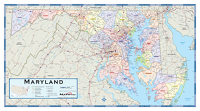 Maryland Counties Wall Map