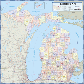 Michigan Counties Wall Map From Mapscom - Map of michigan counties and cities