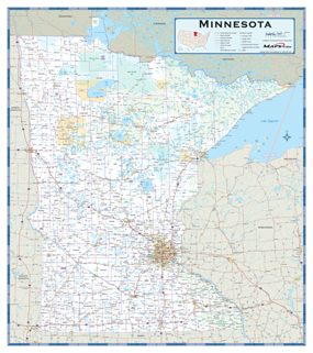 Minnesota Highway Wall Map