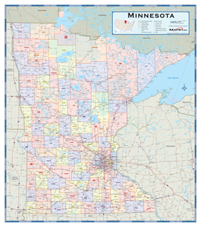 Minnesota Counties Wall Map