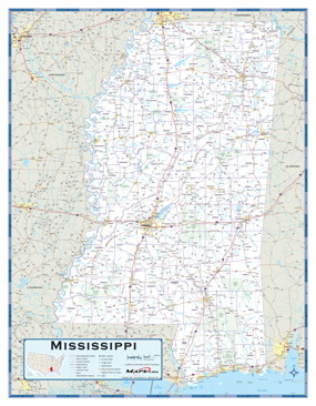 Mississippi Highway Wall Map