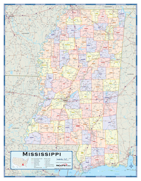 Mississippi Counties Wall Map