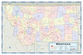 Montana Counties Wall Map