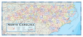 North Carolina Counties Wall Map