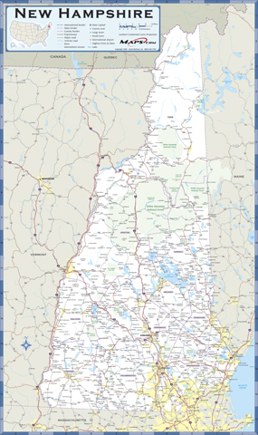 New Hampshire Highway Wall Map From Mapscom - Road map of nh